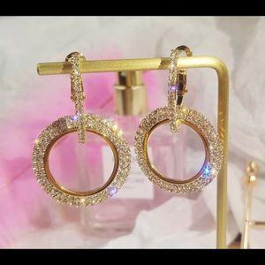 Jewelry - GOLD CRYSTAL ROUND HOOP DANGLE ELEGANT EARRINGS